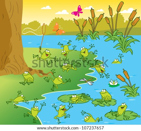 The illustration shows a pond with frogs on a sunny summer day. Picture made in cartoon style