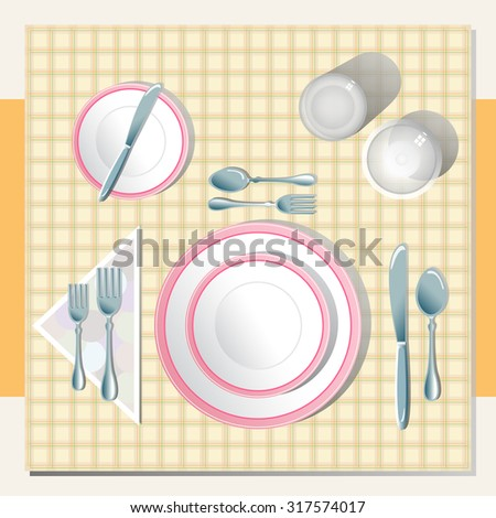 the illustration shows a table setting