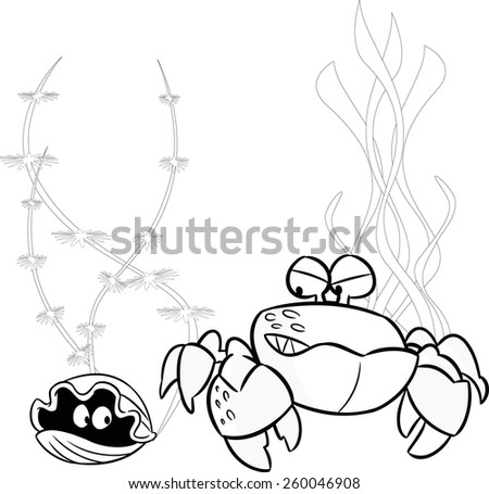 The illustration shows cartoon sea creatures, this crab and shellfish on a background of seaweed. Illustration done on separate layers, a black outline. - stock vector
