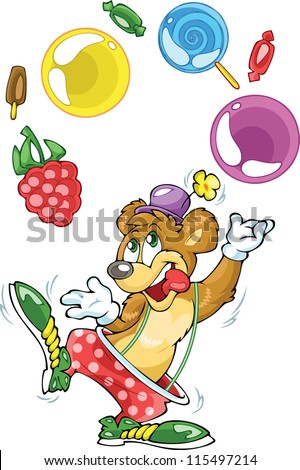 The illustration shows cheerful bear in a clown wearing a hat and boots.. He juggles sweets. Illustration done in cartoon style on separate layers. - stock vector