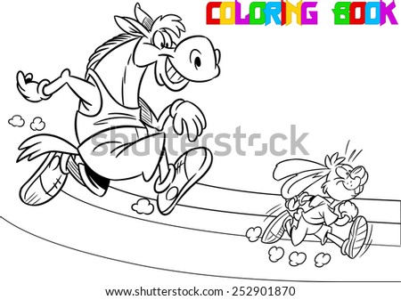 The illustration shows  horse and hare who compete, who faster runs. Illustration done in black and white outline for coloring book, in cartoon style, on separate layers - stock vector