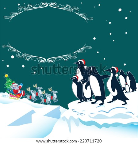 The illustration shows how the penguins in the north meet Santa Claus on Christmas Eve. Santa Claus rides in sled reindeer with gifts. Illustration on separate layers, there is a place for the text  - stock vector