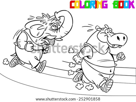 The illustration shows some elephant and hippopotamus who compete, who faster runs. Illustration done in black and white outline for coloring book, in cartoon style, on separate layers - stock vector