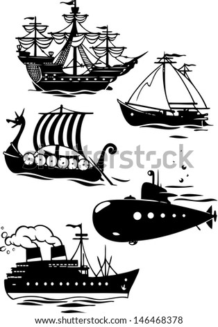 The illustration shows some species of sea transport. It contours the various ships in the cartoon style. Illustration done on separate layers. - stock vector