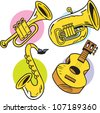 The illustration shows some string and wind musical instruments - stock vector