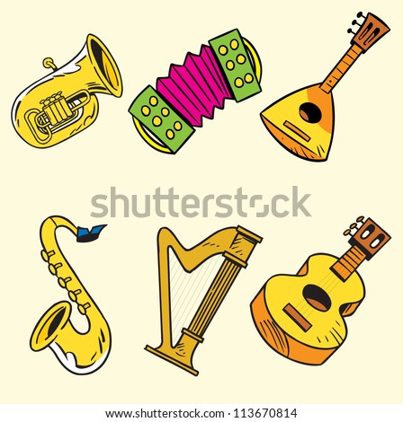 The illustration shows some string and wind musical instruments. Illustration done on separate layers in a cartoon style.