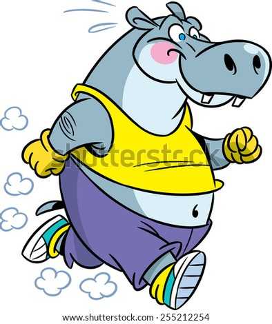 The illustration shows the hippopotamus, which deals sports running. Illustration done in cartoon style isolated on white background.