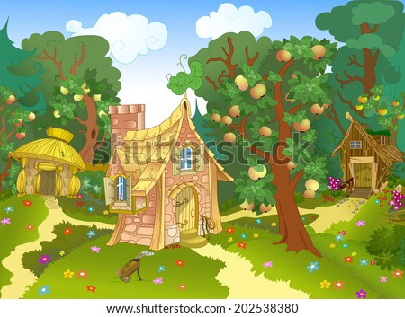 The illustration shows three different fabulous house on a forest glade and an apple orchard. Illustration can be a gaming background to represent cartoon characters. On separate layers. - stock vector