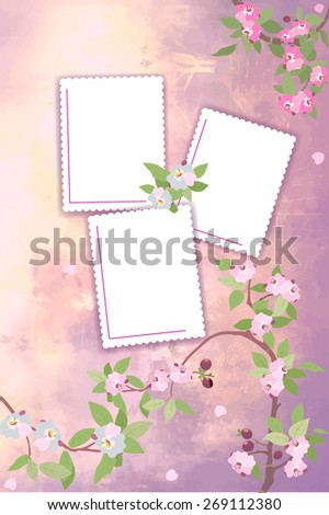 The illustration shows vernal background for album photos with templates of blank forms and branches of cherry blossoms. Illustration made in pink and green colors, on separate layers.