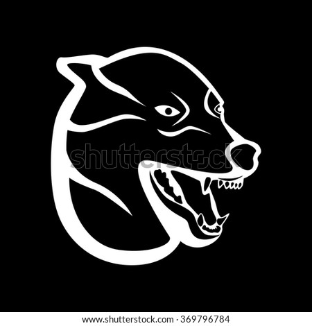 the illustration - white silhouette of a wolf on a black background. - stock vector