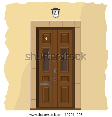 The illustration with an wooden front door and part of wall - stock vector