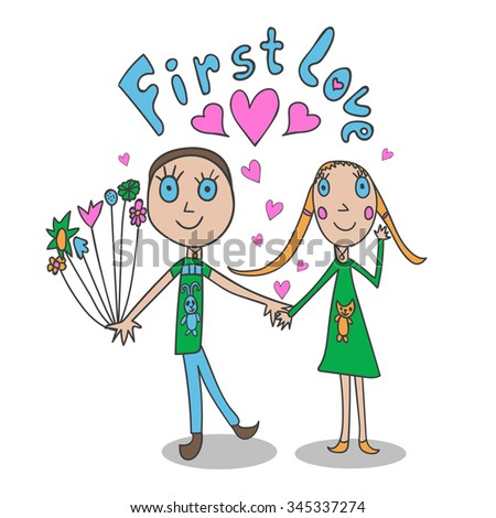 The illustrations in children's style. First love. Greeting card. - stock vector
