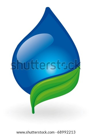 The image a drop of water on leaf - stock vector