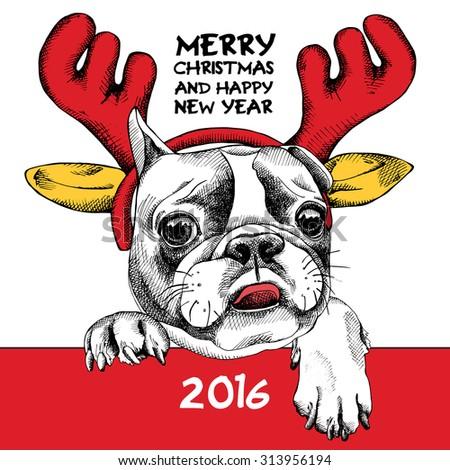 The image French Bulldog dog portrait in mask Santa's antler reindeer. Vector illustration. - stock vector