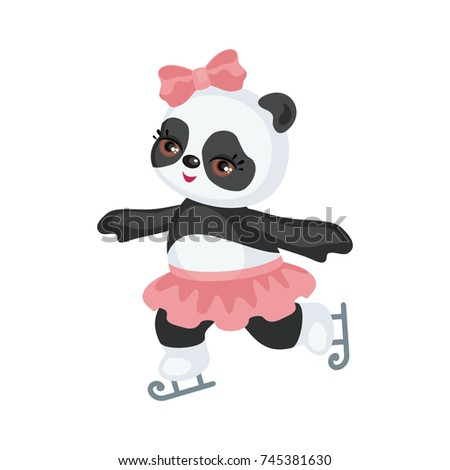 The image of a cute Panda in a cartoon style. Children vector illustration on white background.