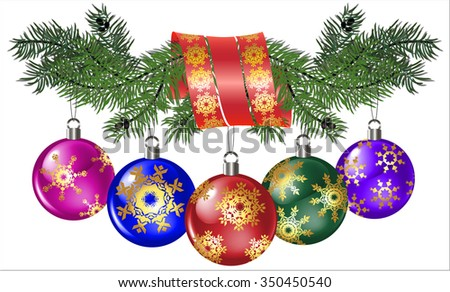the image of fir branch with ribbon and Christmas balls