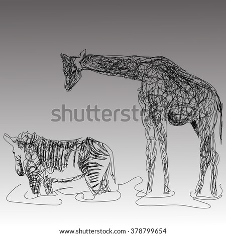 the image of giraffe and Zebra in the style of the hand drawing on the gray background - stock vector