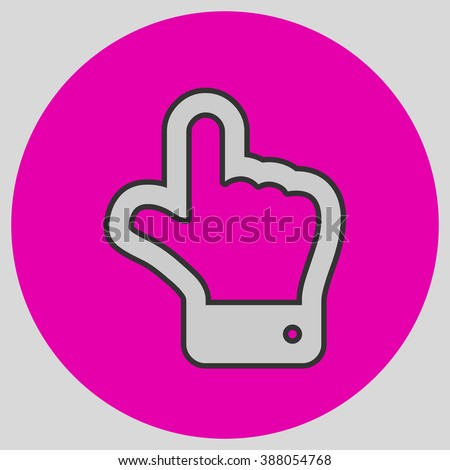 The index finger pointing up. Hand gestures show Up the direction of financial success. Style is flat symbol. Silver color.  Magenta circle  background. - stock vector