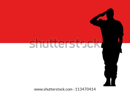 the indonesia flag and the silhouette of a soldier saluting