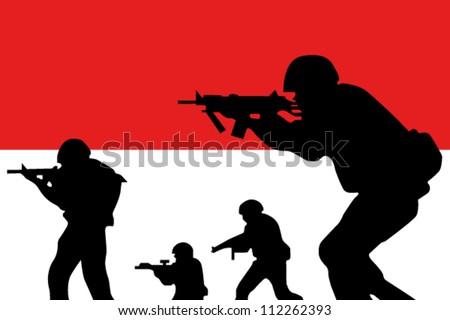 The Indonesian flag and the silhouette of a soldiers