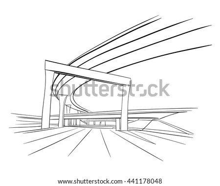 The industrial road sketch design. Hand drawn vector illustration - stock vector