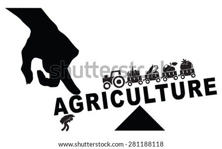 The industrialization of the farm, replacing manual labor. Vector illustration. - stock vector