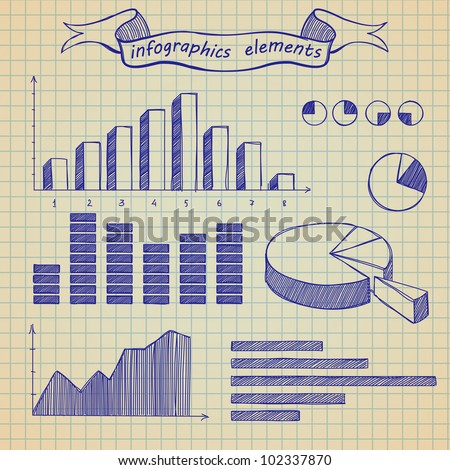 The infographics elements sketch on old sheet of a paper - stock vector