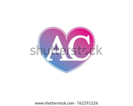 Initial Letter AC Heart Symbol Logo Stock Vector 762291226 ...