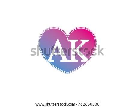 Initial Letter Ak Heart Symbol Logo Stock Vector Royalty Free