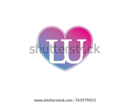 Initial Letter Lu Heart Symbol Logo Stock Vector Hd Royalty Free
