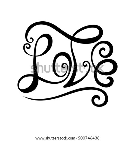 The inscription love for postcards, logos. Vector illustration