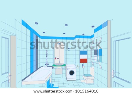 Interior design bathroom 3 d blueprint vector stock vector hd the interior design of a bathroom3d blueprint vector malvernweather Images