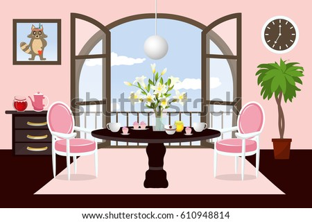 The Interior Dining Room Cartoon Cozy With Furniture And A Large Window