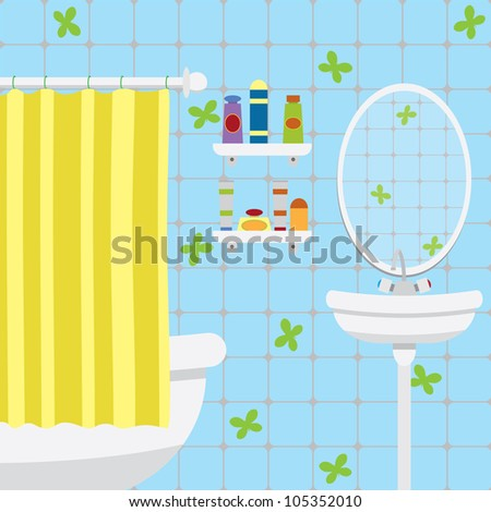 The interior of modern bathroom. - stock vector