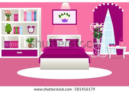 Interior Bedroom Cozy Room Girls Pink Stock Vector 581456179 ...