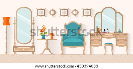 The interior of the dressing room with furniture in flat style. Vector illustration. Interior design with a dressing table and mirror. Boudoir for a woman. - stock vector