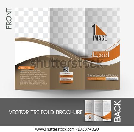 The International School Tri-Fold Mock up & Brochure Design  - stock vector