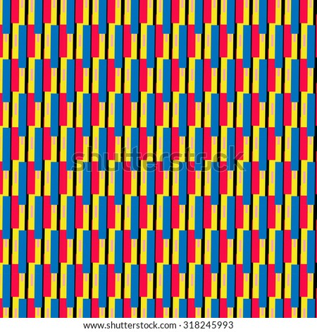 the intersection of the rectangles of red, yellow, blue on black background. Colorful multicolor original vector illustration