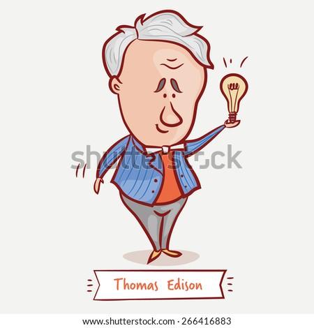 inventor thomas edison bulb blue jacket stock vector 2018 rh shutterstock com  thomas edison clipart
