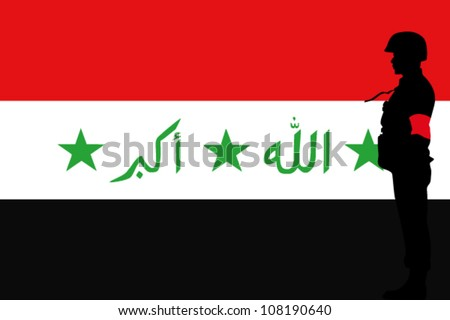 The Iraq flag and the silhouette of a soldier with Red Arm Band - stock vector