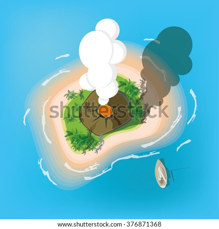 The island with the volcano. View from the top. Vector illustration. - stock vector