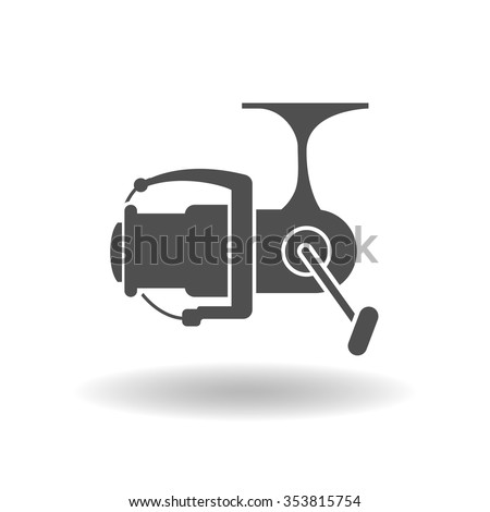 The isolated silhouettes of fishing reels spinning on a white background. - stock vector