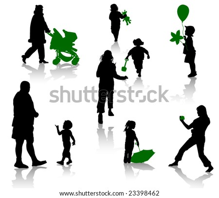 The isolated silhouettes of parents with children. - stock vector