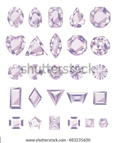 The jewels,  amethyst, set on a white background. Vector illustration