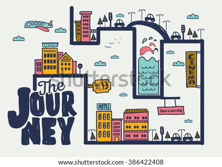 The journey/ City info graphic design/ Set of vector hand drawn vector art/ Buildings and urban infrastructure/ Journey of life poster/ Travel and places to go design elements/ Vector illustration. - stock vector
