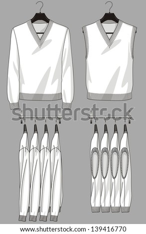 The jumper and vest for the man hang on a hanger - stock vector