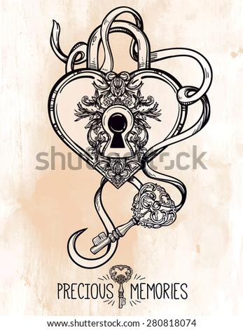 The key to the heart. Isolated Vector illustration. Heart shaped padlock in vintage engraved style with elegant key. Line art tattoo template. Romantic scrapbook sample.  - stock vector