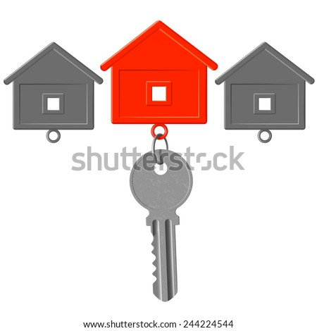 the key to the lock and key chain in the form of house - stock vector