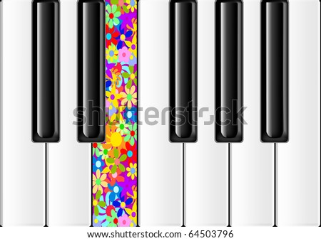 The keyboard of the classical piano with one colorful key - stock vector