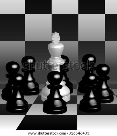 The king is the leader, surrounded by a team of pawns of the enemy.